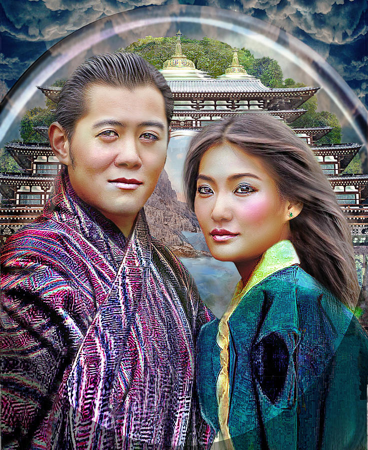 Beloved Dragons The King And Queen Of Bhutan Mixed Media - Beloved Dragons The King And Queen Of Bhutan Fine Art Print