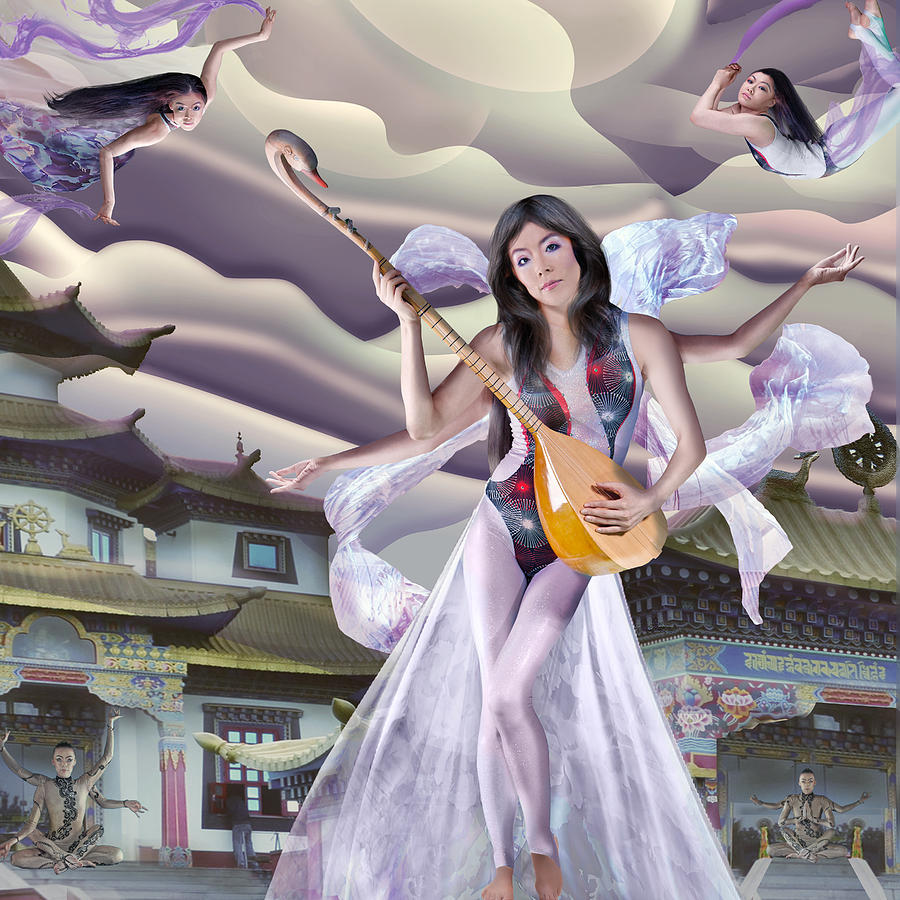 Sarasvati With Mystics Mixed Media - Sarasvati With Mystics Fine Art Print